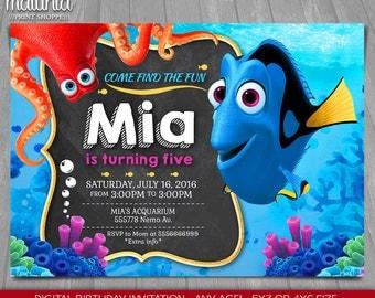 Finding Dory Invitation - Finding Nemo Dory Invite - Disney Pixar Finding Dory Birthday Invitation - Dory Nemo Birthday Party
