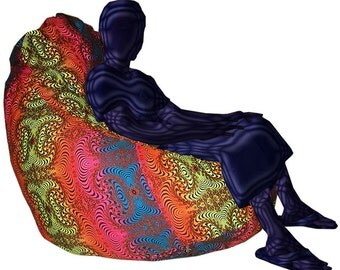 Giant Beanbag Rainbow Fractal Psychedelic Printed Bean Bag Cover UV Active Fatboy