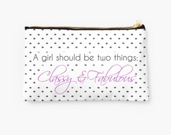 A Girl Should Be Two Things Classy & Fabulous Coco Chanel Quote Makeup Bag