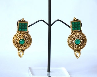 15% OFF! Antique Gold Finish Round Earrings / Green Zircon Earrings / Gift For Her / Gift For Mom / Geometrical Earring / Bollywood Earrings