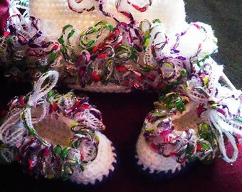 Infant Crocheted Lace Booties