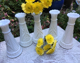"Milk Glass, 6 "", Bud Vase, Set of 5, Vintage, 1960s, Wedding Decor, Vase, Vintage Milk Glass, Bud Vases, Milk Glass Vases, Milk Glass Vase"