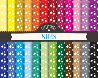 Stars Digital Papers, Stars Digital Papers Backgrounds, Stars Scrapbooking Digital Papers - Instant Download // PS127