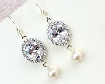 SALE Sterling silver bridal earrings, swarovski pearl bridal jewellery, cubic zirconia crystal wedding jewelry, bridesmaid jewellery