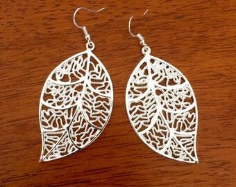 SALE Large leaf silver earrings, big silver leaf earrings, long leaf earrings, big earrings, silver earrings