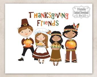 Printable Thanksgiving Friends Pilgrims Indians Pumpkins Wall Art Decor Sign Baby Child Kids ~ DIY Instant Download ~ 1 8x10 Print