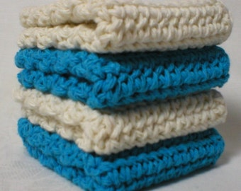 "Handmade Crochet Dishcloths Washcloths 4-Pk, 2 Turquoise 2 Cream, 8"" (#5958)"