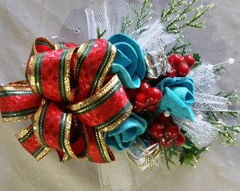 Coat Corsage - Turquoise with holiday ribbon and floral