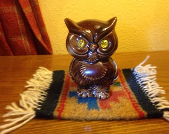 Vintage J G USA Ceramic Brown Owl with Sparkling Eyes