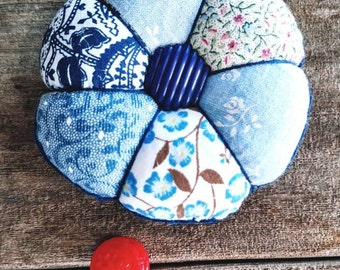 Handmade Pincushion in Blue Calico