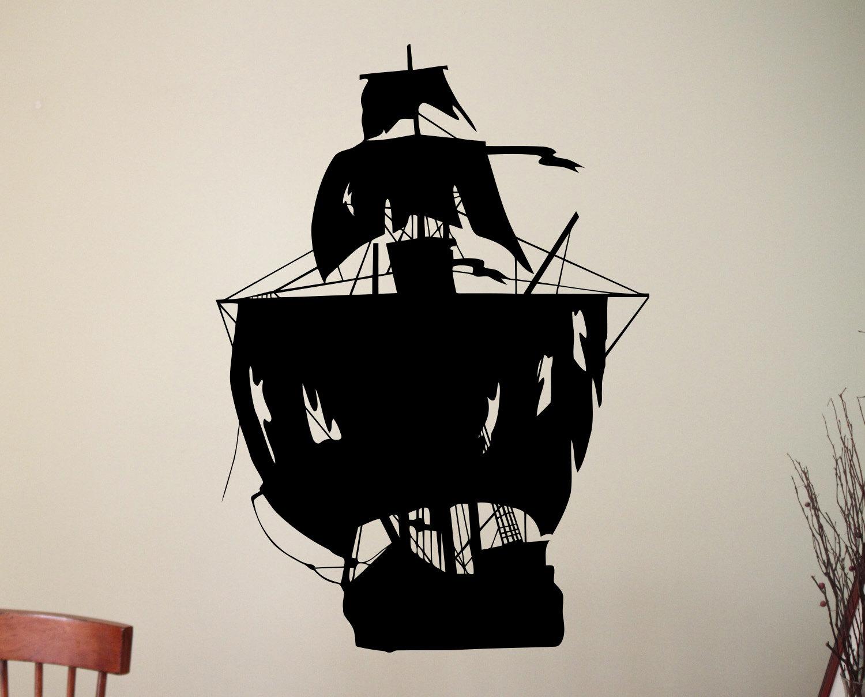 Pirate ship wall sticker sea boat decals home decor wall art for Ship decor home