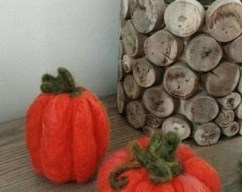 Wool Felted Pumpkins, small pumpkins, needle felting, orange, set of 2