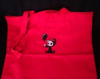 Red cute grim reaper tote bag