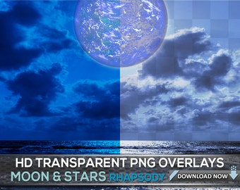 90 TRANSPARENT PNG Moon And Stars Photoshop Overlays - Night Sky Overlays, 60 Moon & 30 Star Overlays - Transparent Png Backgrounds