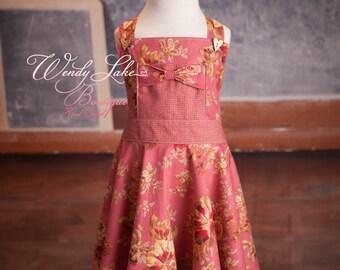 RTS Size 6 Jumper Dress, Little Girls Clothing, Girls Clothing, Premium Designer Fabrics,  Matching Hair Bow