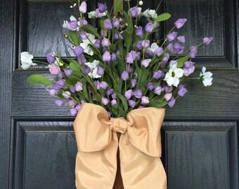 Purple and white flower in metal door hanger - spring summer wreath alternative