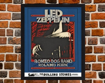 Framed Led Zeppelin And The Rolling Stones Concert Poster A3 Size Mounted In Black Or White Frame