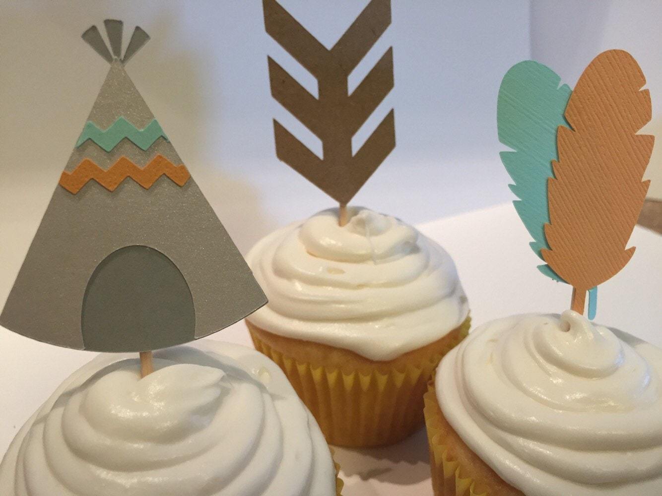 Tribal cupcake toppers for Baby shower cupcake picks decoration