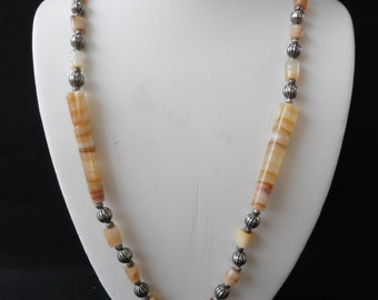 Very Lovely Natural Stone Long Necklace // Vintage