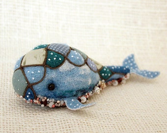 Fantasy needle felted blue whale
