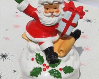 Vintage Santa Claus Christmas Musical Wind Up Music Box Porcelain Japan Holiday Decor