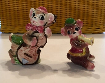Vintage Musical Mice Salt and Pepper Shakers Mother Son S&P Colorful Kitchen Decor Trumpet Base Guitar Collectible Shakers Old Antique Mouse