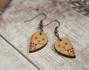 Wooden Mini Owl  Drop Earrings