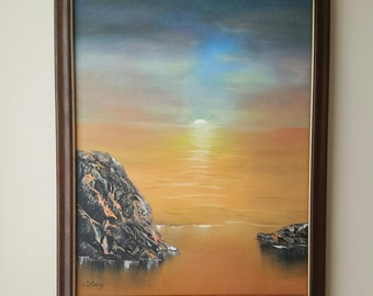 "18""x24"" Surreal Sea Scape original oil on canvas"
