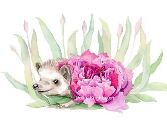 Peony Hedgehog Watercolour Art print, Hedgehog print, Nursery Art print, hedgehog lover gift, Home Decor