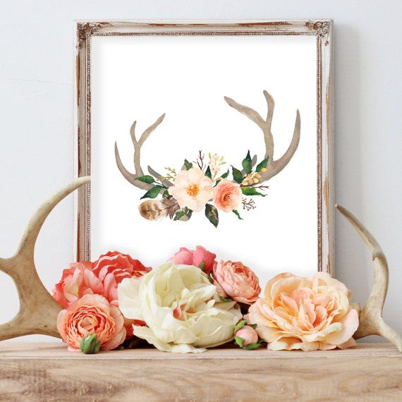 Printable Art, Antler print, Watercolor wall art, Floral nursery art print, Watercolor antler print, Antlers with flowers, Deer antler print