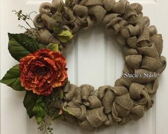 Rustic Burlap Wreath, Burlap Wreath, Rustic Wreath, Peony Wreath, Farmhouse Wreath