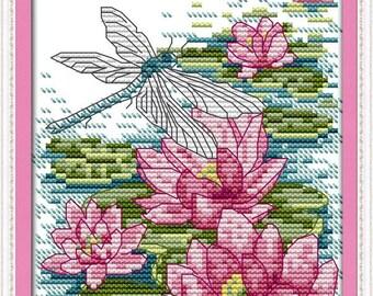 Cross Stitch Kit Dragofly and Lotus