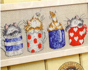 Unprinted Counted Cross Stitch Kits 14ct Cartoon Cups and Cats Lovely