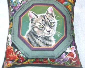 Silver grey Tabby cat portrait cushion
