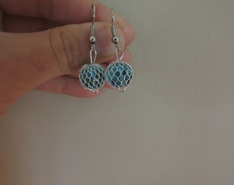 icy blue netted earrings