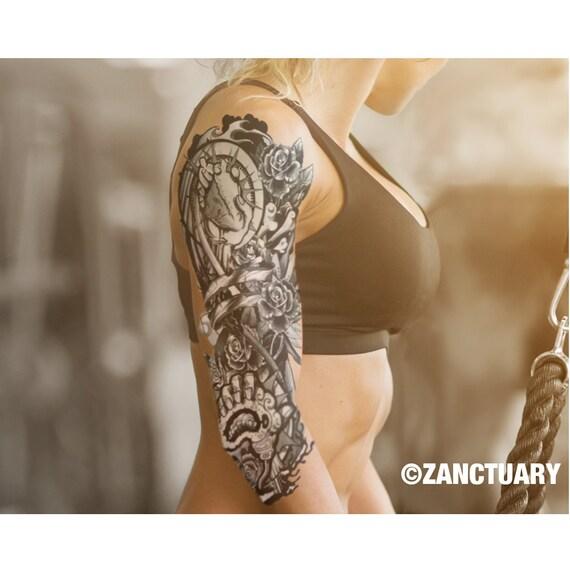 steampunk temporary tattoo sleevefull arm sleeve