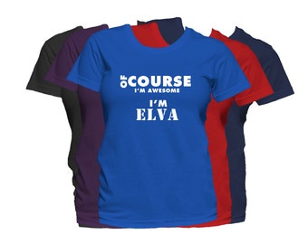 ELVA Womens First Name T Shirt First Name Family Name Custom Personalized Name T-Shirt