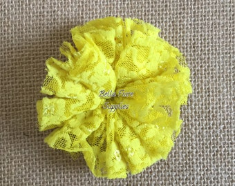 Yellow Lace Ballerina Flowers, Lace Flowers- 3 inch, Wholesale, DIY, Lace Headband