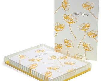Buttercup Letterpress Thank You Cards - Set of 6