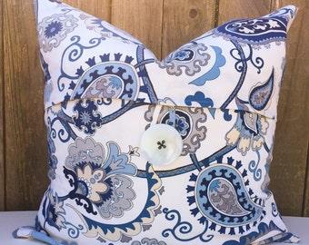 Blue White Paisley Decorative Designer Pillow Button