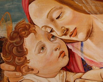 MADONNA and CHILD fresco painting on wood