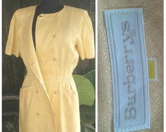 Vintage  Burberry  Dress // button up dress  //  Orange