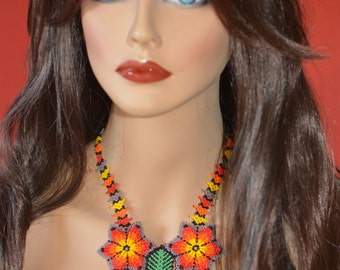 Handbeaded necklace, flowers, handmade in Mexico,  multicolor beads, huichol art