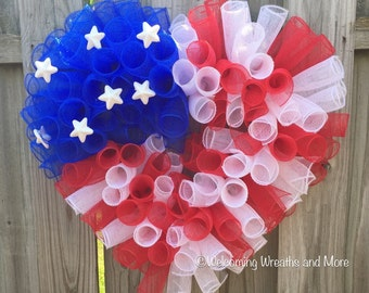 American Flag Heart Wreath, 4th of July Wreath, Patriotic Mesh Wreath, Deco Mesh Flag Heart Wreath, Red, White, and Blue Wreath