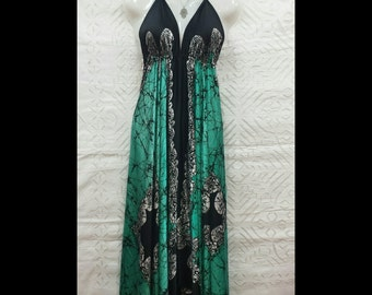 Long silk dress with straps