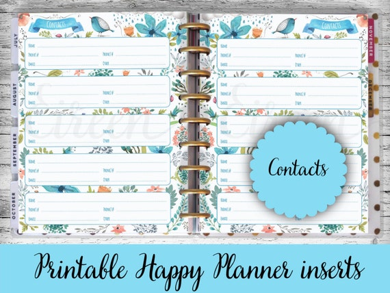 happy planner printable pages contacts pages address book