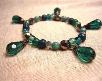 Aqua (Green) charm bracelet