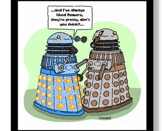 Dalek Cartoon, Dr.Who, Art, Illustration, Humor,