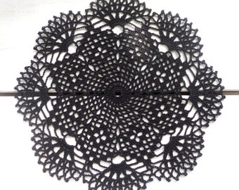 10 inch Black Crochet Doily, Halloween Home Decor, Black Tablecloth, Black Crochet Lace, Housewarming Gift, Black Interior