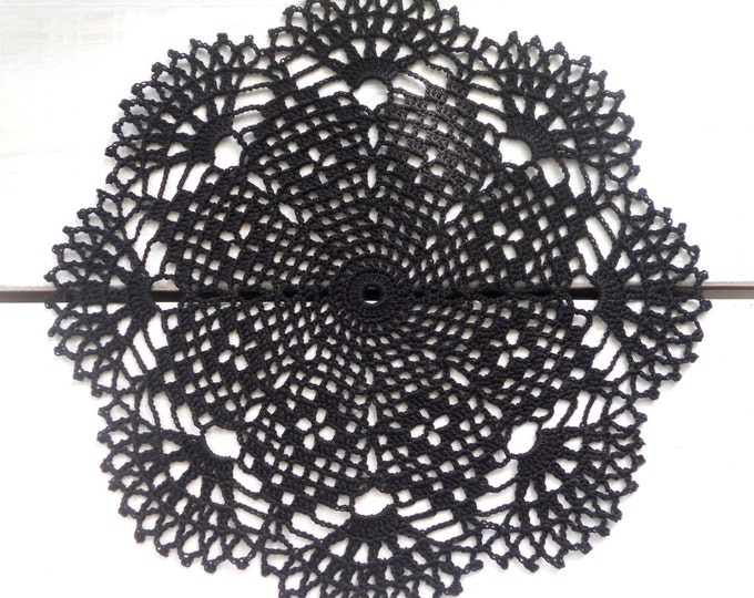 10 inch Black Crochet Doily, Halloween Home Decor, Black Tablecloth, Black Crochet Lace, Housewarming Gift, Black Interior